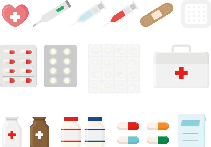 フリーイラスト 薬や注射器や絆創膏などの医療関連のセットでアハ体験