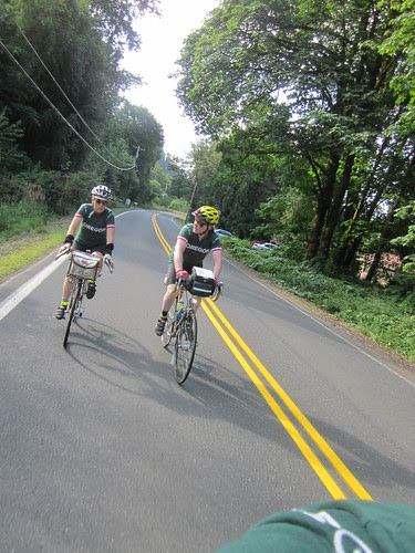 Lesli and Michal, heading up the Scappoose Vernonia climb