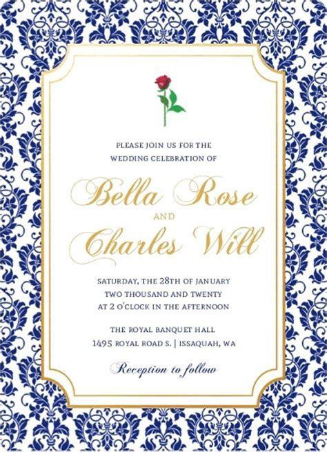 Royal Blue Damask Frame Wedding Invitation   Wedding