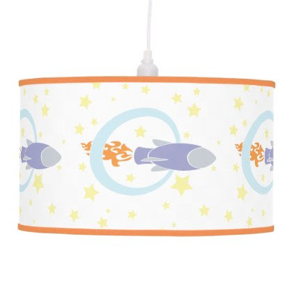 Rocket Kids Retro Spaceship Hanging Lamp