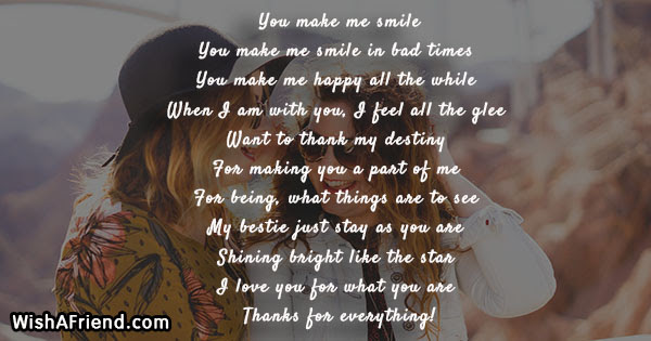 You Make Me Smile Poem For Friends