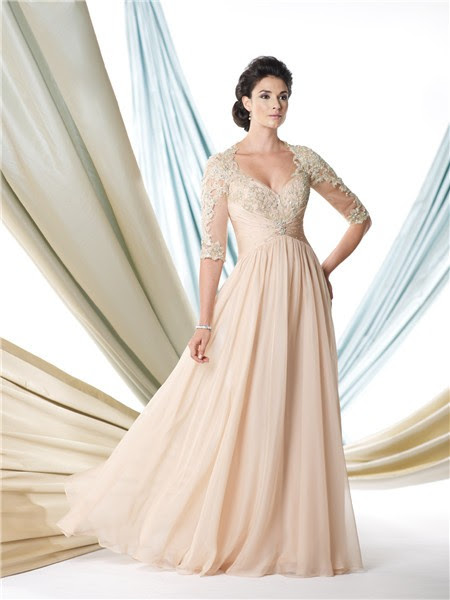 a line sweetheart empire champagne chiffon lace sleeve