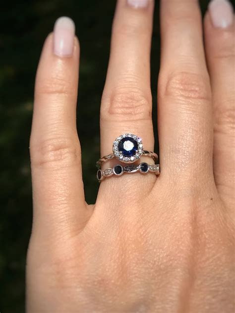 Sapphire and Diamond engagement ring and wedding band