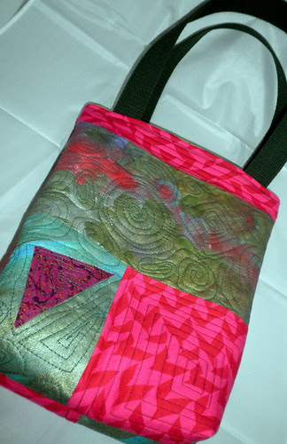 Hand Painted, Machine Quilted Tote Bag
