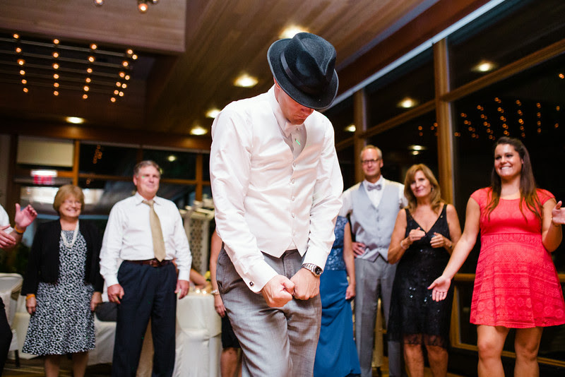Dancing and partying for a reception at The Hyatt Lodge at McDonald's Campus, Oak Brook Illinois, Grand Oaks Pavillion.