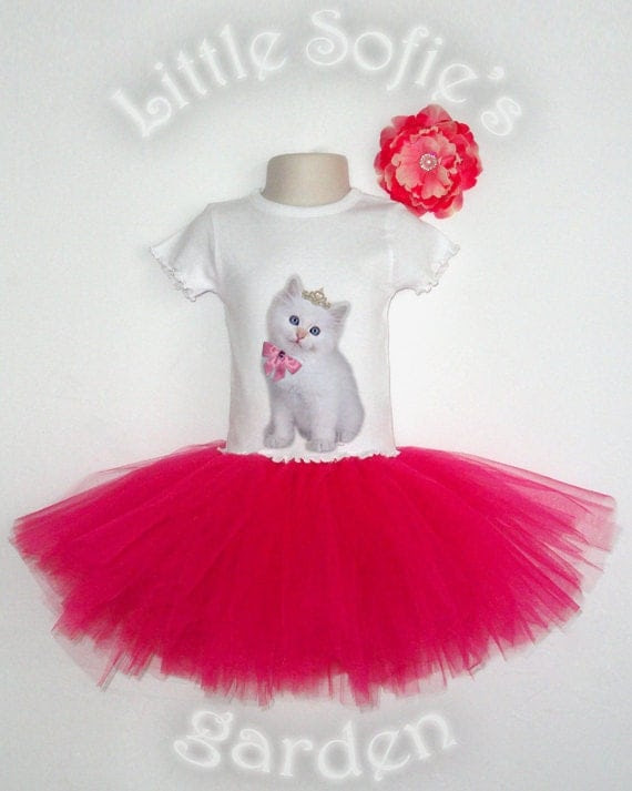 Boutique quality Baby, Toddler Girl T-Shirt, Onesie - Rainbow Kittens, Hot Pink, Tutu Outfit, Birthday Outfit, NB - 6T