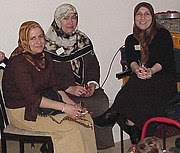 Muslim Turkish women in eastern Turkey wearing headscarves. This style is common in Syria and Lebanon.