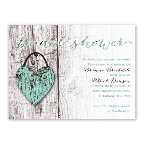 Wood Heart Bridal Shower Invitation   Ann's Bridal Bargains