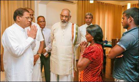 Sri Lankan President Maithiripala Sirisena visited Jaffna on Tuesday to meet the family of Vithya