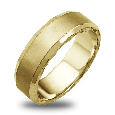 14K 18K White Or Yellow Gold Satin Diamond Cut Edge Mens