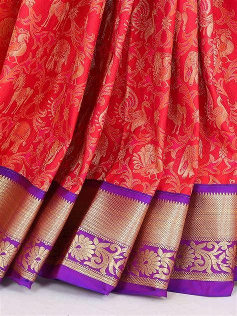 Red and purple color silk saree   G3 WSA23459   G3fashion.com