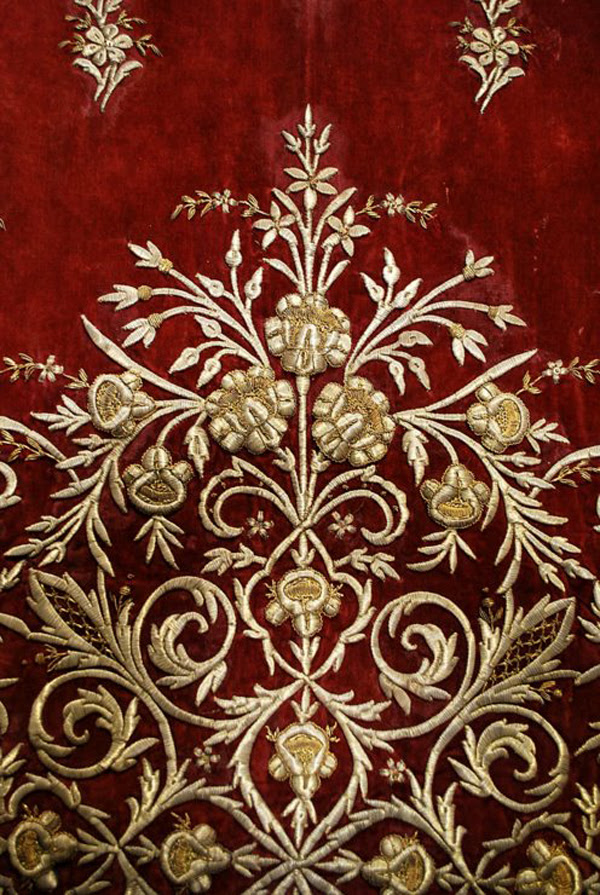 Antique Ottoman Gold Thread Densely Embroidered Large Panel On Burgundy Velvet