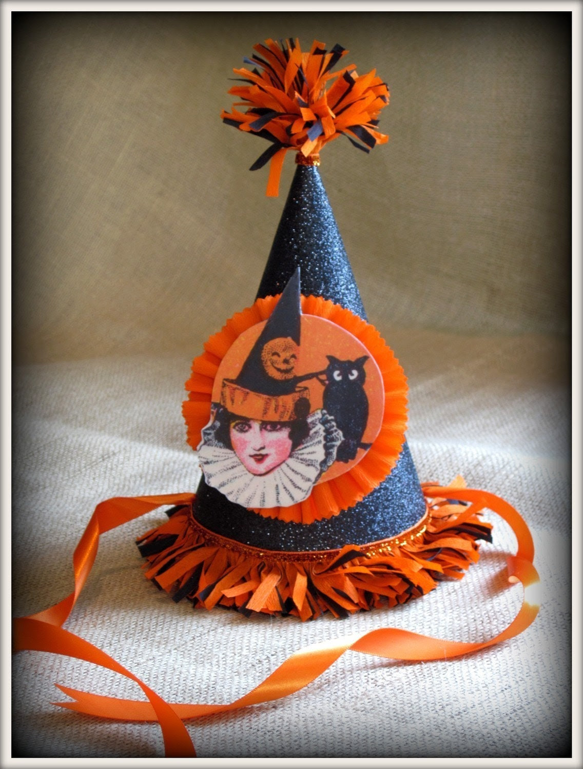 vintage inspired handmade halloween party hat vintage image