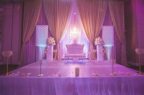 Blush & Champagne Wedding decor for reception stage