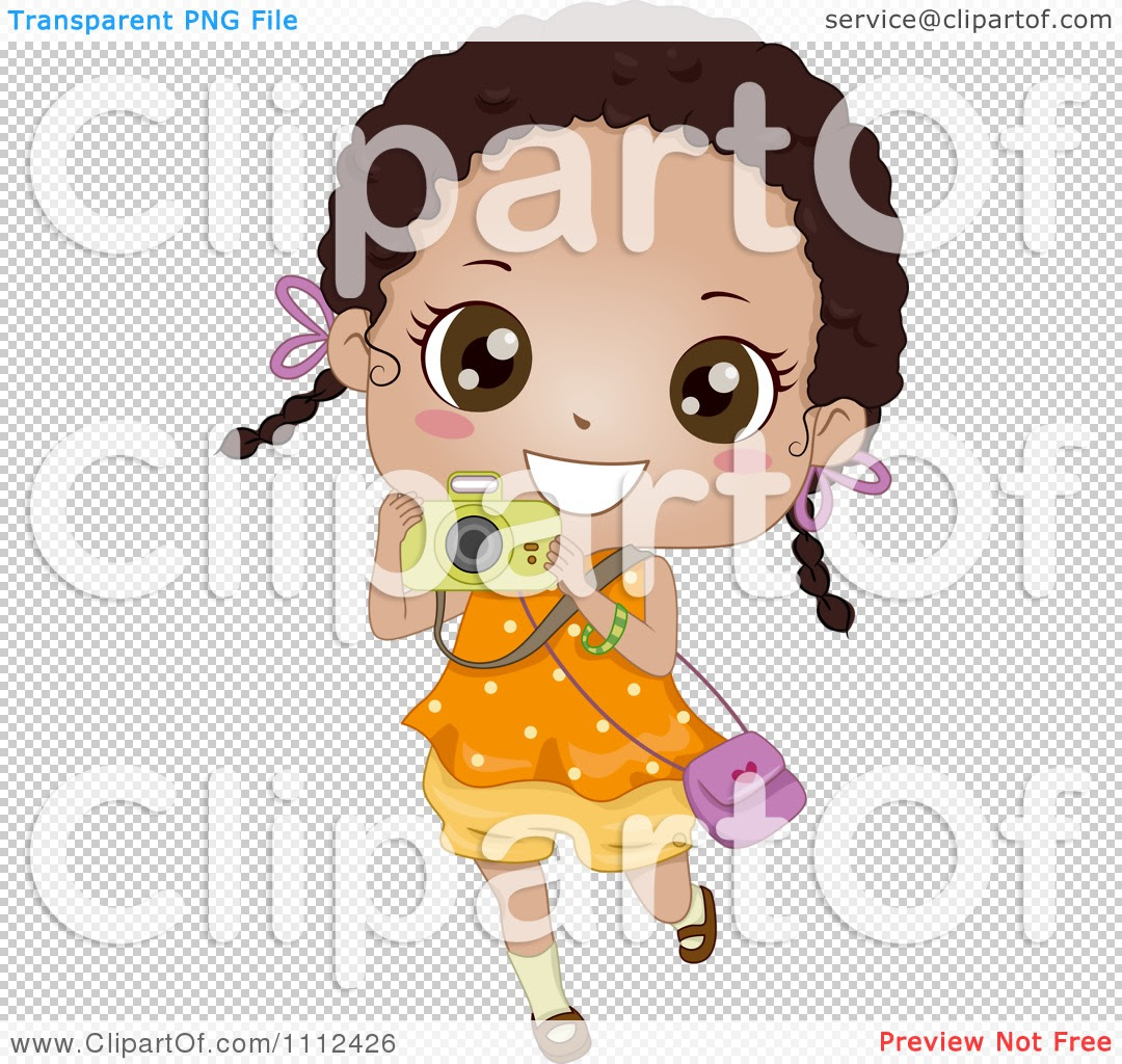 Download Clipart Cute Happy African American Girl Using A Camera ...