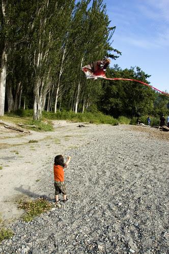 River kite flying