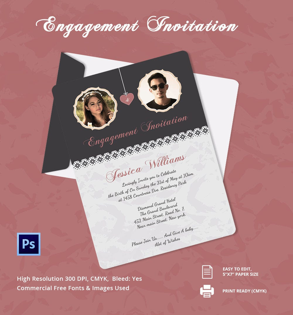 Editable Engagement Invitation Cards Free - Calendar June