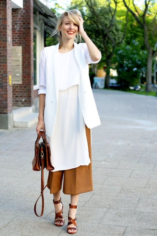 Le Fashion Blog Blogger Style White Sleeveless Vest Layered Longline Blouse Camel Culottes Leather Satchel Brown Strappy Heeled Sandals Via Ohh Couture