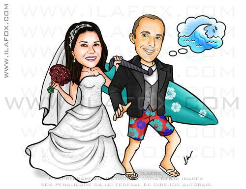 caricatura colorida, noiva puxando pela gravata, noivo surfista, noivo segurando prancha, caricatura para casamentos by ila fox