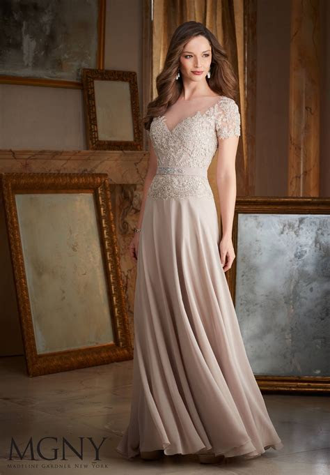 Beaded Lace Appliqués on Chiffon Evening Dress   Style