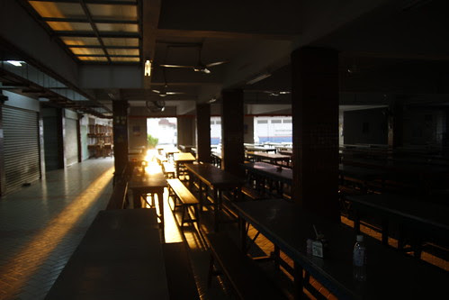 School canteen drenched with golden sunlight 4