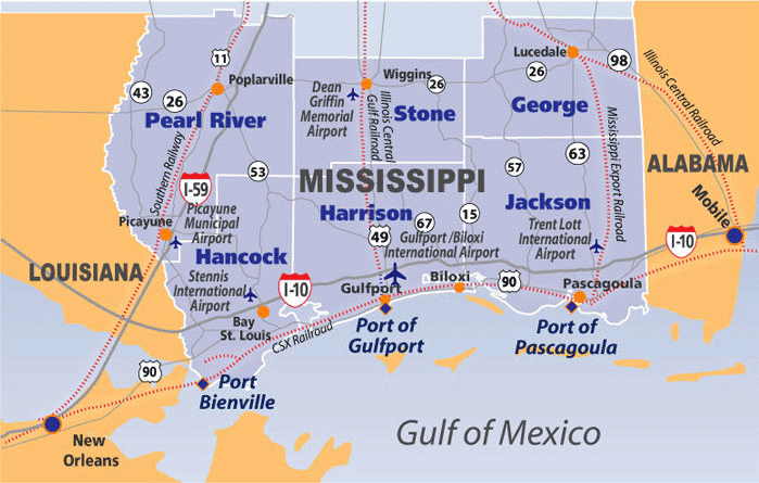 map of mississippi gulf coast cities Map Of Ms Gulf Coast map of mississippi gulf coast cities