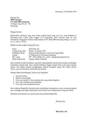 27 Contoh Surat Lamaran Frontliner Bank Bri Kumpulan Contoh Gambar