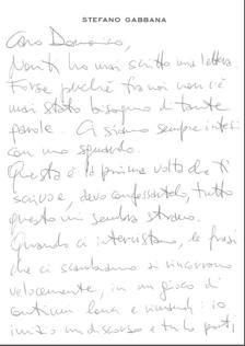 «Caro Domenico...» La lettera di Gabbana a Dolce