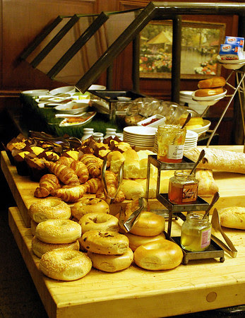 Bagles and breads and muffins - oh my!  Part of the Breakfast Buffet at the Omni Parker House in Boston.
