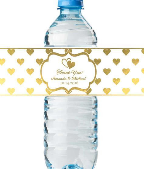 Water Bottle Labels Wedding, REAL Metallic Print, Lowest