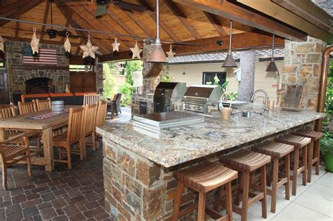 Kitchen: Beautiful Image Of Outdoor Kitchen Design And Decoration Using Backless Square Oak Wood