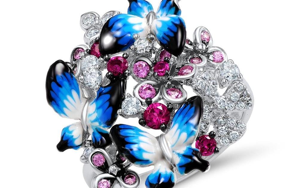 fa7ab5ba80d8 Comprar SANTUZZA Anillo De Plata Para Las Mujeres La Esterlina 925  Glamoroso Mariposas Brillante Zirconia Cúbica Esmalte Joyería Moda Online  Baratos ~ ...