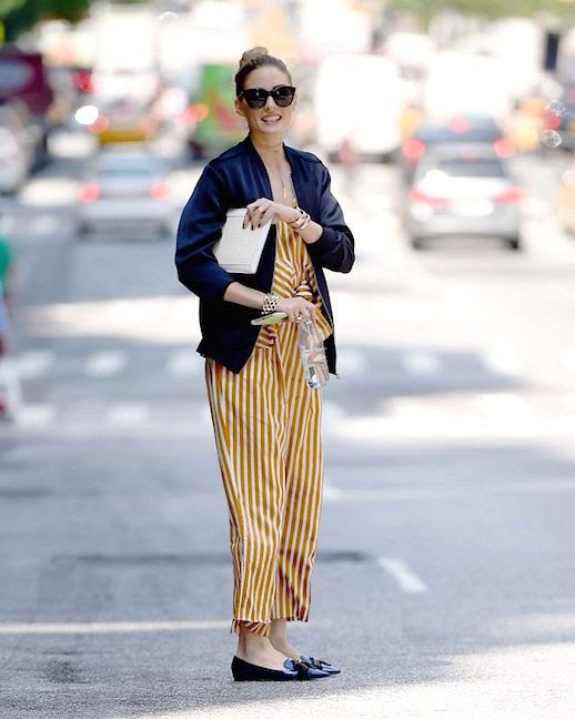Le Fashion Blog Olivia Palermo Striped Jumpsuit Black Flats Navy Bomber Jacket In Nyc Via Daily Mail