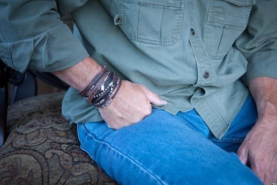 Captain Jack, Mens leather bracelet, sterling silver, semi-precious stones, Men's Leather Wrap Bracelet, Men's Cuff Bracelet