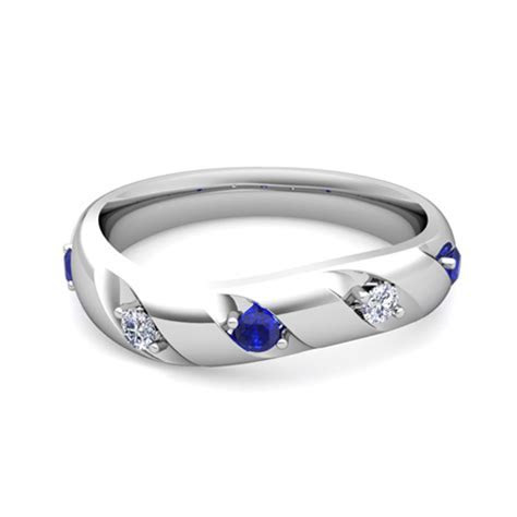 Curved Diamond and Sapphire Wedding Anniversary Ring in