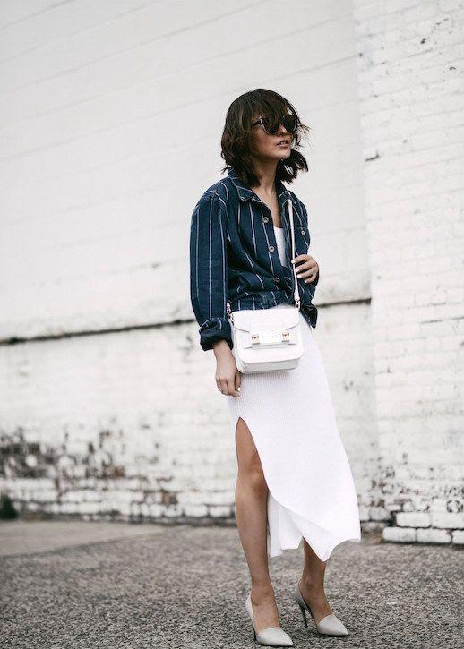 Le Fashion Blog Sporty Chic White Skirt Button Up Shirt Fashion Blogger Diane Z Via Z Hours