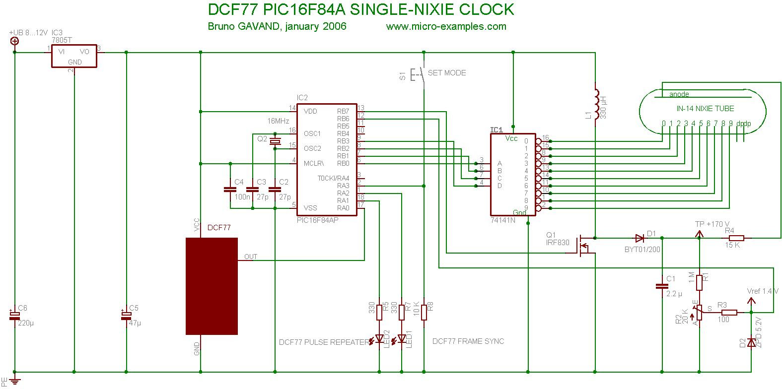PIC16F84A DCF77 Nixie Clock Circuit Diagram