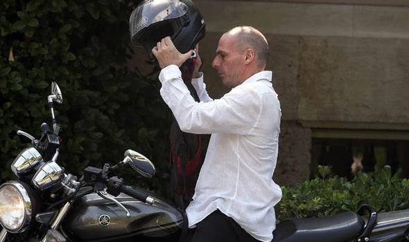 Yanis Varoufakis on a motorbike