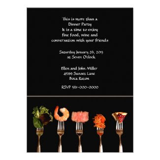 Modern Food on Forks Dinner Invitation Custom Invites