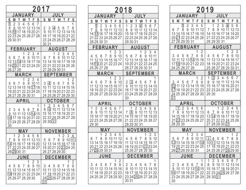 3 Year Calendar Template 2017 2018 2019 792