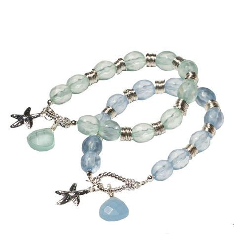 The Paper Store Stretch Sea Glass Bracelet with Starfish