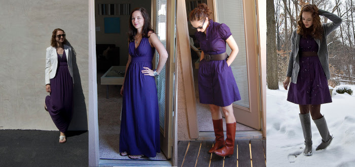 purple maxi dress vintage scarf brown boots riding style dash dot dotty grad student style architecture corduroy blazer h&m max ross cowgirl