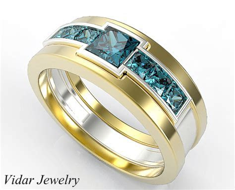 Two Tone Gold Mens Wedding Band with 1.40 Ct Princess Cut