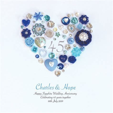 personalised sapphire wedding anniversary button heart by