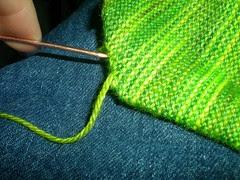 Sock toe, weave in end, 1