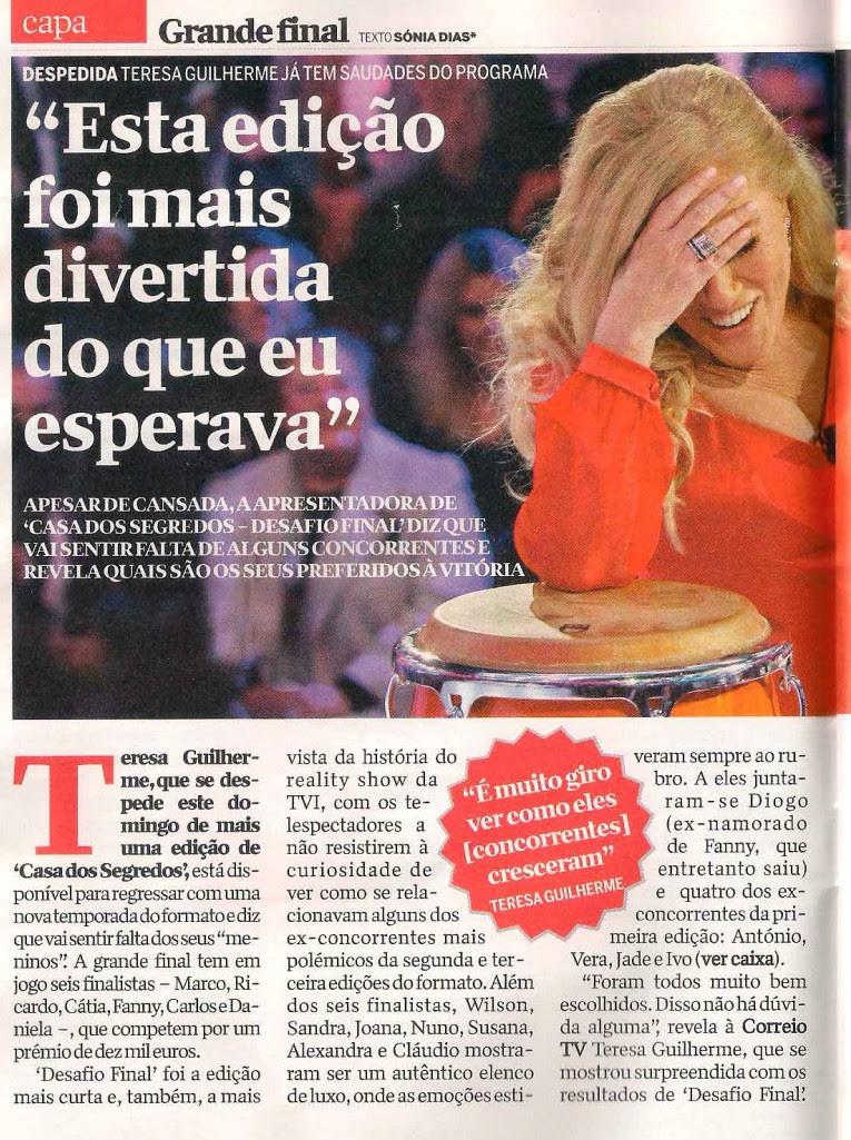 """Teresa Guilherme diz """"O Ricardo não tem hipótese (de ganhar)"""""""
