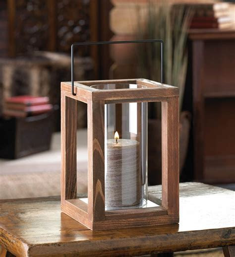 Wholesale Rustic Garden Wooden Hanging Candle Lantern