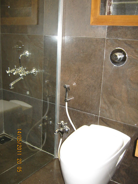 "Toilet in a 3 BHK ""Show"" Flat in Om Developers' Tropica, Blessed Township at Ravet PCMC, Pune 412 101"