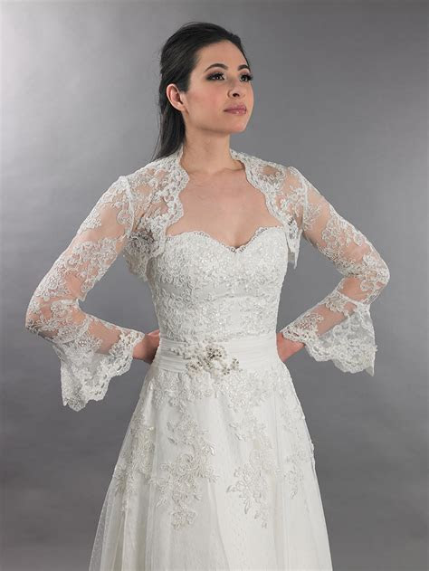 Ivory long bell sleeve bridal re embroidered lace bolero
