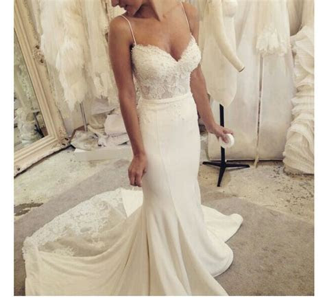 Spaghetti Straps Sweetheart Wedding Dress,Sexy Lace Pearl